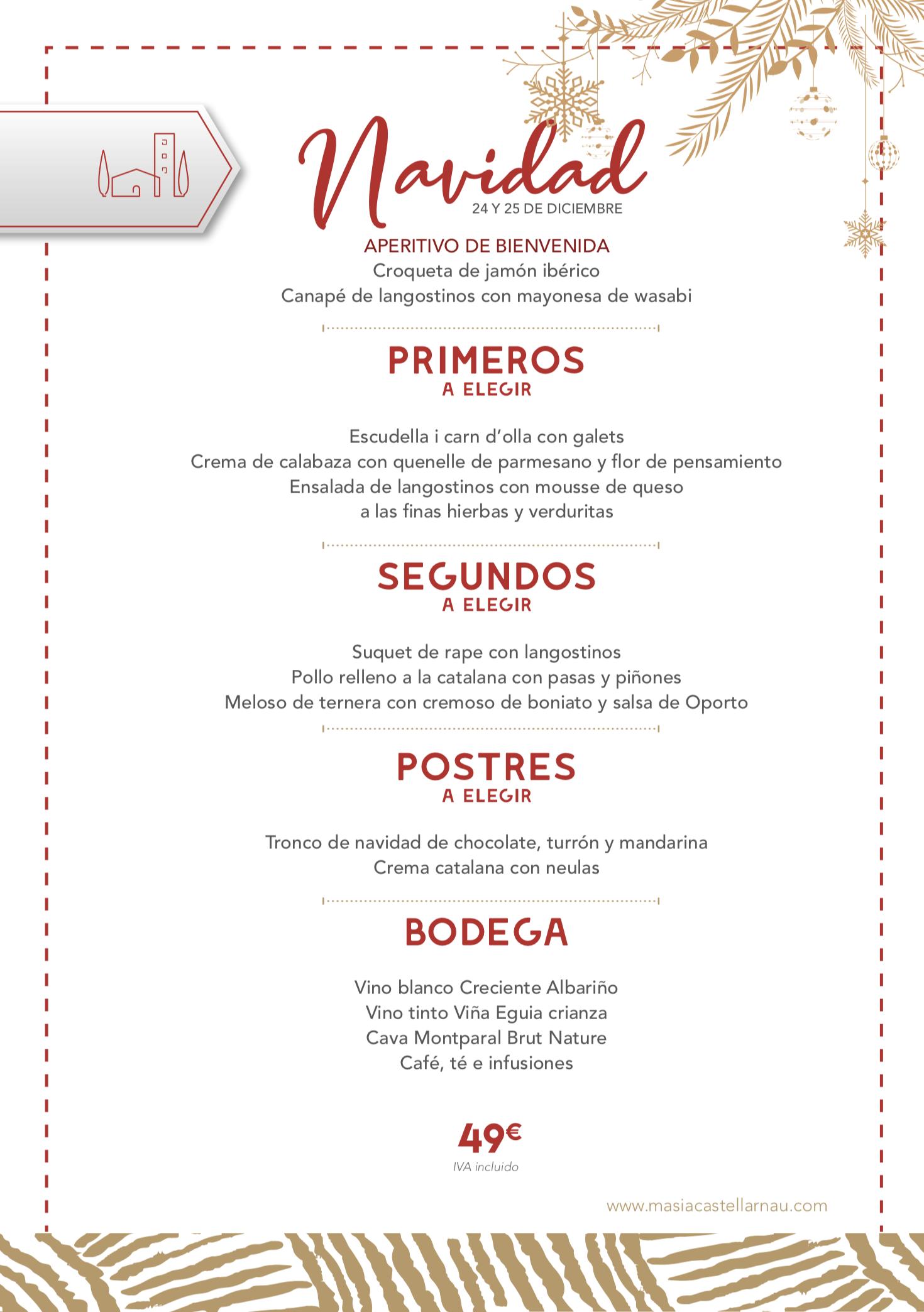 Menú Navidad Masia castellarnau